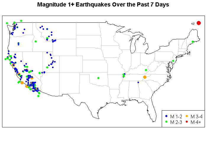 Earthquakes Over the Past 7 Days